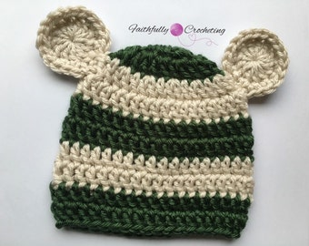 Newborn boy hat.. Bear hat.. Green and tan... Photo prop.. Ready to ship