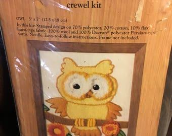 Vintage Hallmark Caron owl crewel