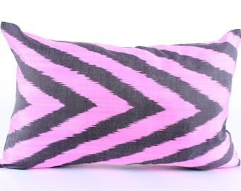 Pink Black Ikat Pillow Cover Decorative Pillows For Couch Pink Black Pillows Candy Pink Pillows Ikat Pillowcase Hot Pink Eclectic Home Decor