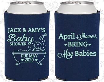 Spring Baby Shower, Baby Shower Decorations, April Showers bring May Babies, Baby Shower Can Coolers, Baby Shower Party Supplies (90181)