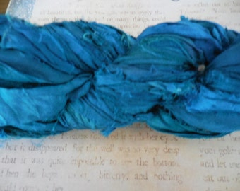 BACK !    Blue Jade Sari Silk Ribbon,  50 Yards,  Fair Trade from India