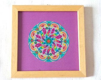 Framed colored mandala 17 cm x 17 cm or 6 11/16 inin