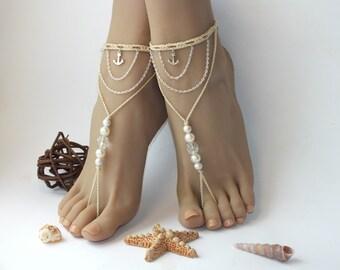 Beach wedding Barefoot Sandals, Footless sandals, Anchor bare sandals, beach wedding barefoot sandal, beaded barefoot sandals, beach anklet