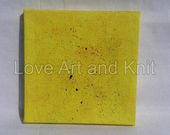 canvas acrylic painting, yellow, size 15x15 cm, abstract painting, original painting, canvas painting
