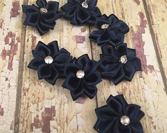 Lot 7 Petite Navy Satin Flowers, Navy Rhinestone Flowers, Navy Wedding Embelishments, Tiny Navy Flower, Scrapbook Flowers, DIY Craft Flowers