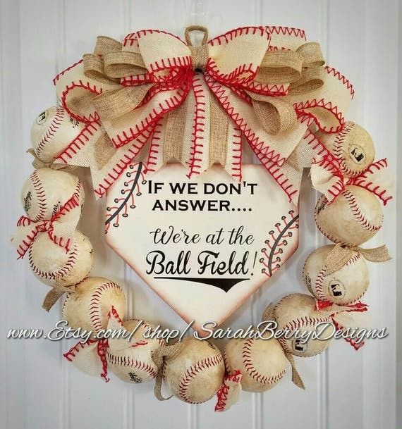 Baseball Wreath with burlap bow