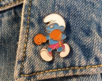 """Enamel pin """"Smurf Boxer"""" 90's retro vintage"""