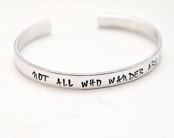 Wander Bracelet, not all who wander are lost, wanderlust, travel bracelet, travel gift, lord of the rings, tolkien, adventure, boho