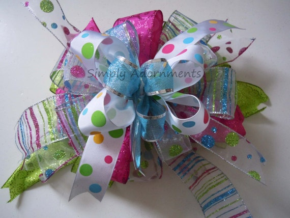 Whimsical Pink Green Blue Christmas Wreath Bow Whimsical Christmas Lantern Swag Bow Christmas Gift Bow Polka Dots Girl Birthday Party Decor
