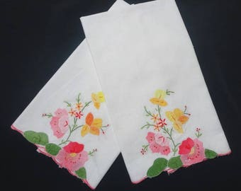 1990s Vintage Cotton Tea Towels with Pink and Yellow Appliqued & Embroidered Flowers, Pink Scalloped Edges, 14.25 x 21.5 In., Vintage Linens