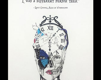Alice In Wonderland, Lewis Carroll - Hand Drawn Quote - I Can't Go Back to Yesterday