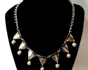 1940's Vintage Eloxal Germany Aluminum Gold Tone Necklace