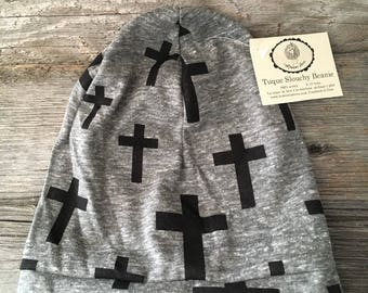 Gray black cross beanie slouchy Beanie for baby child Hat