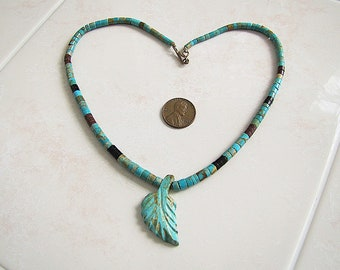 Native American Turquoise Leaf pendant Heishi Necklace
