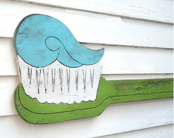 Toothbrush Wall Art Dental Office Art Toothbrush Sign Brush Your Teeth Children's Dentist Kids Bathroom Decor Dental Decoration WallDecor