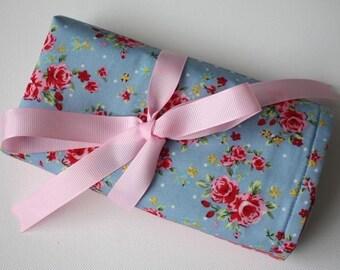 Floral crochet hook Dpn needle holder roll case organizer kitsch - holder only