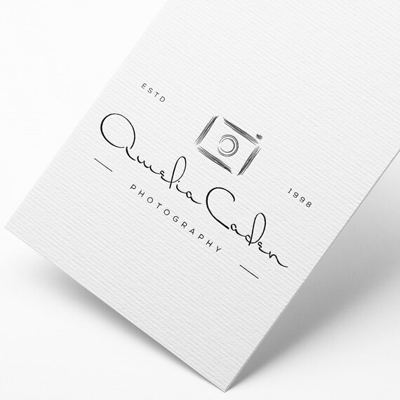 INSTANT DOWNLOAD, DIY Logo, Handwritten Logo, Camera Logo Download, Calligraphy Logo, Affordable Logo Design, Cheap Logo, Classic Logo, Logo