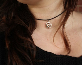Pentagram Charm Choker Necklace
