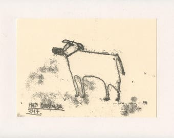 FIERCE DOG 1 - A Mono Print - Original Faye Moorhouse Illustration drawing art