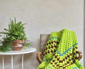 Neon Green Afghan 100% Wool One Big Granny Square Throw Blanket Brown & Blue Details Bohemian Minimalist