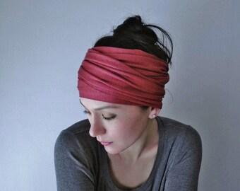 RHUBARB Yoga Headband, Crimson Pink Headbands for Women, Workout Hair Accessories, Yoga Head Scarf, Activewear Womens Hair Accessories