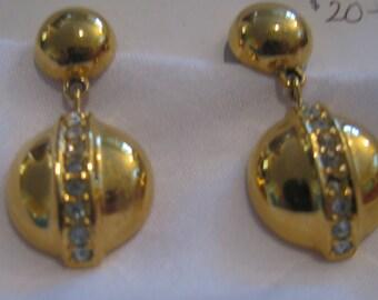 LCI pierced shiny gold ball dangle earrings. SHINY and wonderful rhinestones