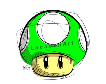 1UP Mushroom from Super Mario, Digital Drawing, Instant Download, Decoration, Digital Print, Nintendo Art, Games Art