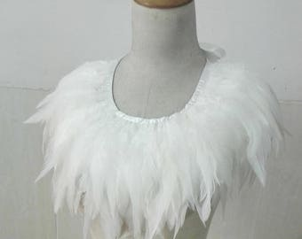 White rooster coque feather collar # CW17006