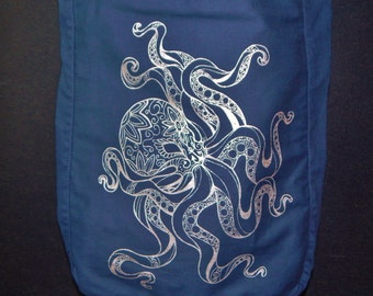 Octopus Canvas Sling Bag, Original Art, Screen Printed, Metalic Silver Ink