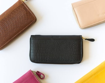 leather wallet woman, black leather wallet, zipper wallets, big leather wallet, phone wallet woman, bifold wallet woman, gift for her