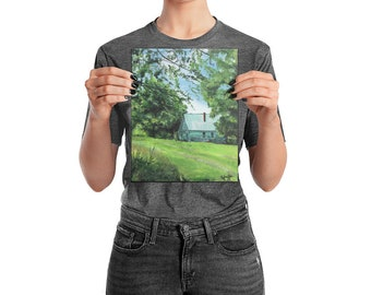 Homey Nature Cottage In The Woods Green Acrylic Painting Wall Art, Digital Print - Coon Creek - by TWAdair Art