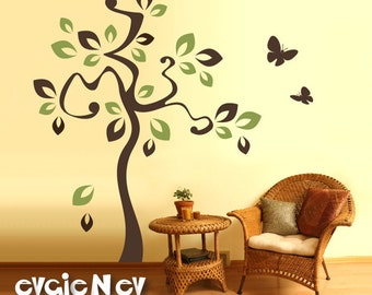 Vinyl Wall Sticker Decal - Tree and Flying Butterflies - TRAT010