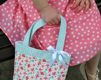 Mini Tote Bag / Girls Bag / Toddler Bag / Kids Bag / Little Girls Bag / Girls Purse / Girls Birthday Gift - Mint Spot & Pink Floral