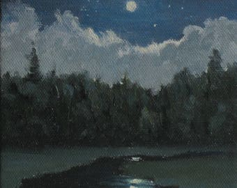 """Moon painting with clouds and a stream reflection, 5"""" x 5"""" wrap around canvas"""