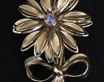 Vintage Jewelry Gold Flower Brooch Vintage Flower Pin with Rhinestone Middle Goldtone 1960's -1970's Flower Power