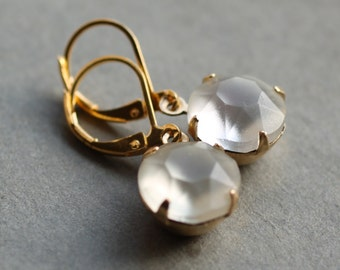 Frosted Diamond Vintage Earrings ... Glass Crystal April Birthstone