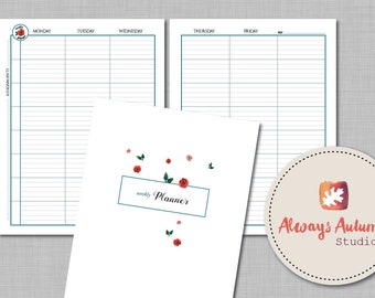 Printable 8 Subject / Assignment Weekly Lesson Plan Planner - 2 Page Spread plus Cover - Floral Watercolor Four Seasons - Undated Perpetual