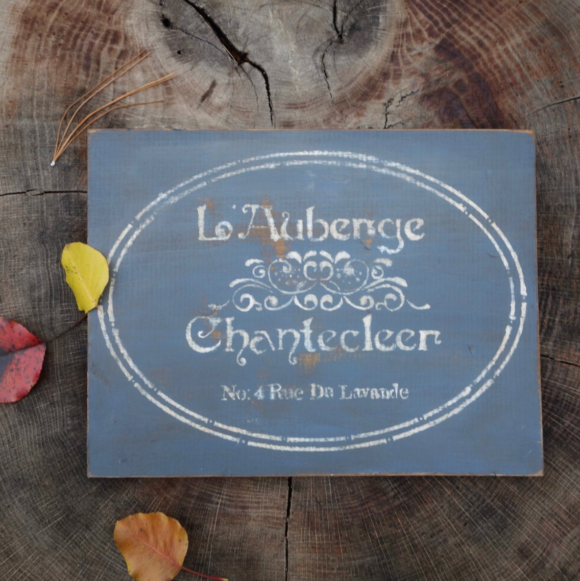 L\'Auberge Chantecleer Country French Inn Sign on Salvaged