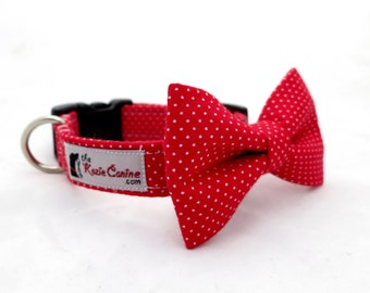 Red Pin Dot Polka Dot Dog Collar (Dog Collar Only - Matching Bow Tie Available Separately)