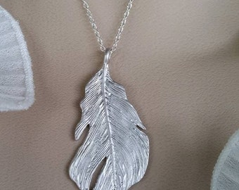 Bold and Elegant Feather Silver Necklace