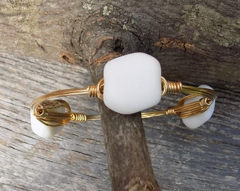 Bourbon and Boweties Inspired Wire Wrapped Bangle.  18mm x 17mm White Wavy Square Coin Sea Glass Beaded Bracelet.