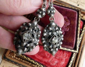 Antique French Silver & Paste Earrings, Old World Intricate Beauties, by RusticGypsyCreations