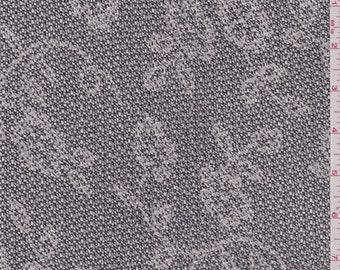 Black Floral Jacquard Mesh, Fabric By The Yard
