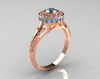 Modern Antique 14K Rose Gold Aquamarine Diamond Wedding Ring, Engagement Ring R191-14KRGDAQQ