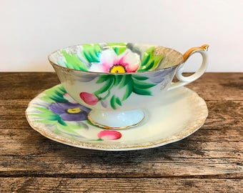 Taico Japan Fine China Tea Cup Saucer Set Pink Violet Flowers Floral Tea Party