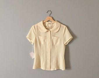 PALE LEMON blouse   1940s inspired pin tucked pocket blouse   peter pan collar blouse