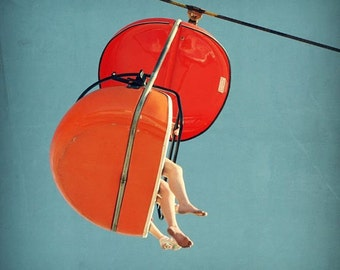 carnival photography, mid century print, santa cruz boardwalk, orange art print - SkyGlider I,  fine art photograph