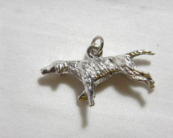 English Pointer Dog Charm Solid Sterling Silver .925 -A10