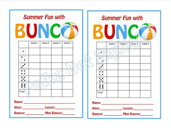 Geeky image for free printable bunco score cards