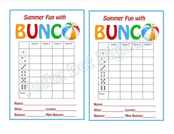 Buy 2 get 1 free summer beach bunco score card sheet with for Free bunco scorecard template